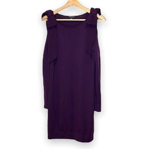 Club Monaco Wool Long Sleeve Dress w/ Shoulder Cutouts and Bow